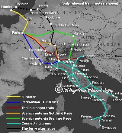 Kinh nghiệm mua vé đi tàu ở Ý- Sơ đồ mạng lưới tàu ở Ý: Kinh nghiệm đi tàu du lịch Italia tự túc, thú vị