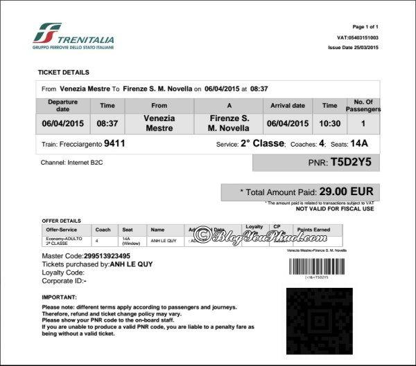 Kinh nghiệm đặt vé trên trang www.trenitalia.com- Vé điện tử đi tàu ở Ý, du lịch bằng tàu ở Italia như thế nào thuận lợi?