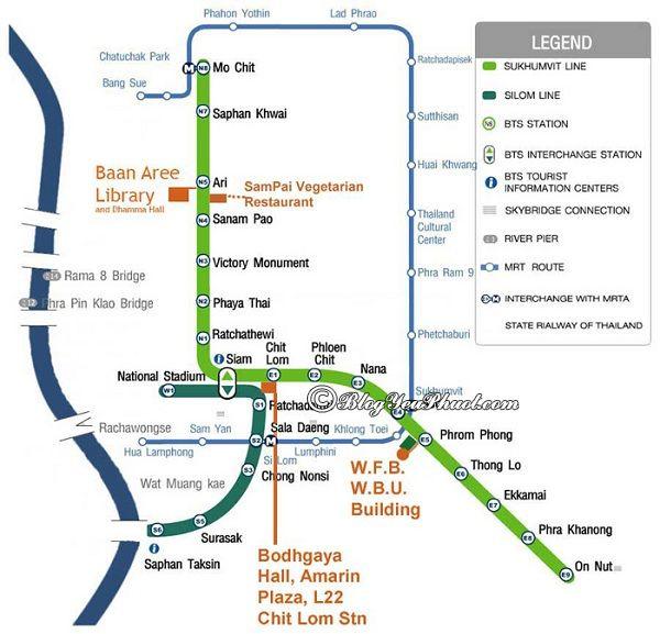Cách xem bản đồ các tuyến tàu điện ở Bangkok: Kinh nghiệm xem bản đồ tàu điện ở Bangkok đơn giản, chi tiết
