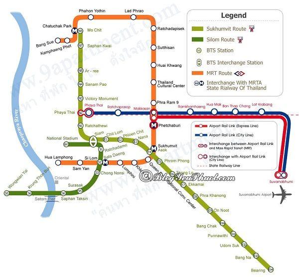 Cách xem bản đồ các tuyến tàu điện ở Bangkok: Đọc bản đồ đi tàu điện du lịch Bangkok như thế nào?