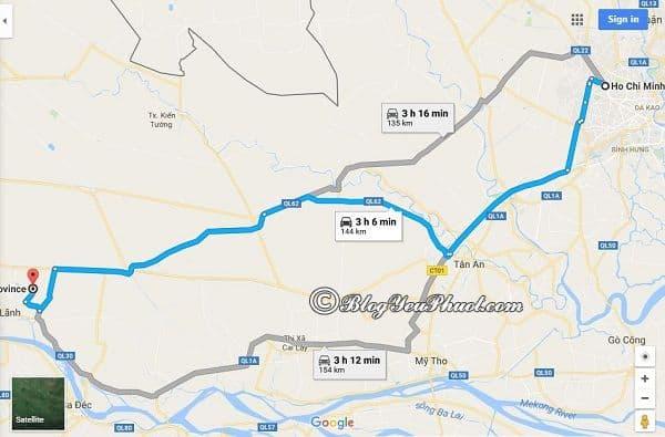 Bản đồ đường đi từ Sài Gòn tới Đồng Tháp: Hướng dẫn đường đi du lịch Đồng Tháp từ Sài Gòn