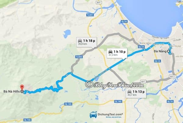 Bản đồ đường đi từ Đà Nẵng đến Bà Nà: Hướng dẫn cách di chuyển từ trung tâm Đà Nẵng tới Bà Nà Hill