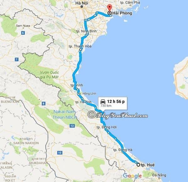 Bản đồ đường đi từ Huế đến Hải Phòng: Huế cách Hải Phòng bao nhiêu km, đi đường nào gần?