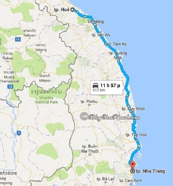 Bản đồ đường đi từ Huế đến Nha Trang: Khoảng cách đi từ Huế tới Nha Trang bao nhiêu km?