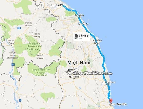 Bản đồ đường đi từ Huế đến Tuy Hòa: Hướng dẫn đường đi, cách di chuyển từ Huế tới Tuy Hòa du lịch gần nhất