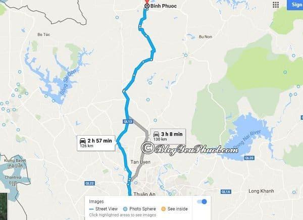 Bản đồ đường đi từ Sài Gòn tới Bình Phước: Hướng dẫn đường đi và khoảng cách từ Sài Gòn tới Bình Phước du lịch