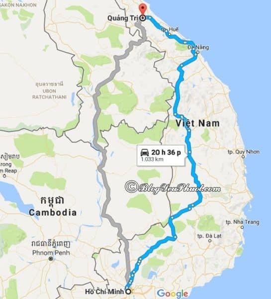 Bản đồ đường đi từ Sài Gòn đến Quảng Trị: Khoảng cách và đường đi từ Sài Gòn tới Quảng Trị du lịch