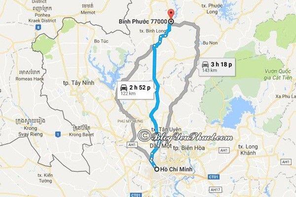 Bản đồ di chuyển từ Sài Gòn đến Bình Phước: Khoảng cách và đường đi từ Sài Gòn tới Bình Phước nhanh, gần nhất