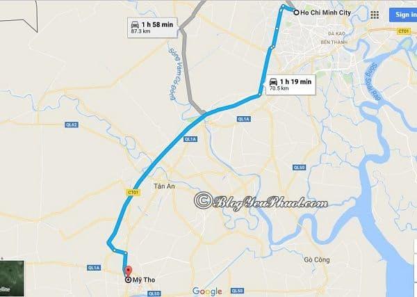 Bản đồ đường đi từ Sài Gòn đến Mỹ Tho: Quảng đường và cách di chuyển từ Sài Gòn tới Mỹ Tho du lịch