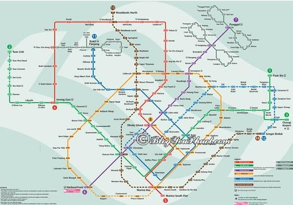 Kinh nghiệm đi xe bus ở singapore: Bản đồ các tuyến xe bus ở Singapore
