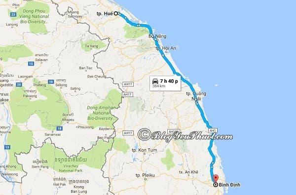 Khoảng cách đi từ Huế tới Bình Định hết bao nhiêu km? Hướng dẫn đi từ Huế tới Bình Định