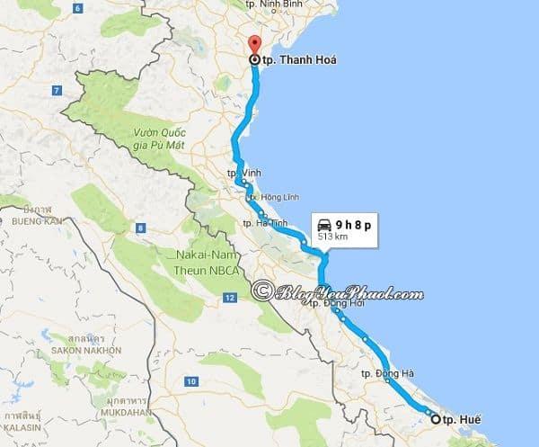 Bản đồ đường đi từ Huế đến Thanh Hóa: Thanh Hóa cách Huế bao nhiêu km, đi đường nào gần?