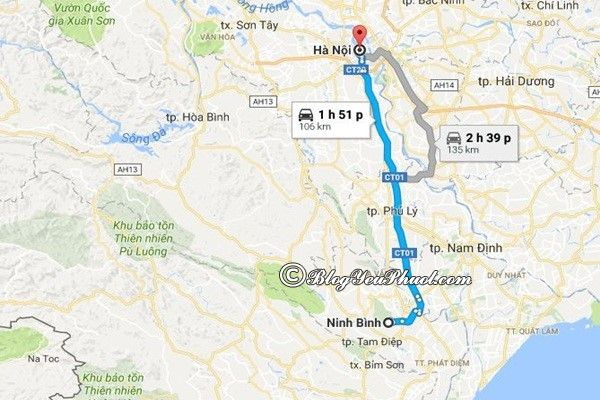Bản đồ đường đi từ Hà Nội đến Ninh Bình: Ninh Bình cách Hà Nội bao nhiêu km, đi đường nào gần nhất?
