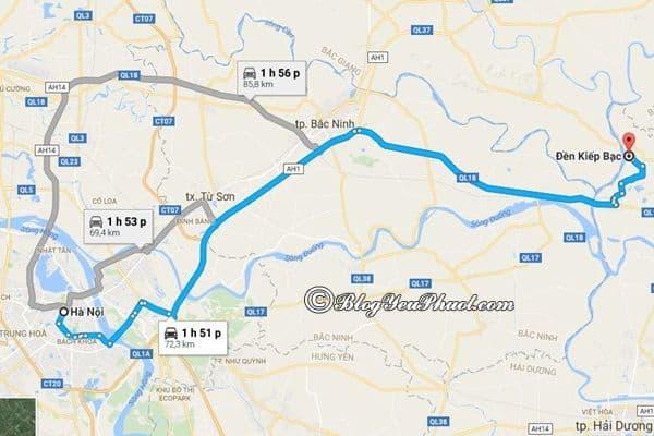 Bản đồ đường đi từ Hà Nội đến Kiếp Bạc: Kiếp Bạc cách Hà Nội bao nhiêu km, đi đường nào gần?