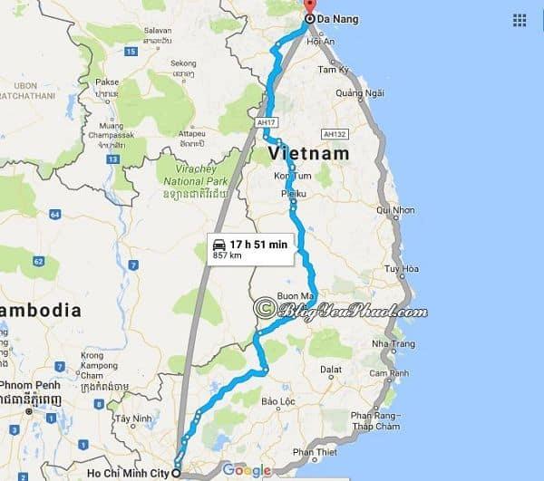 Bản đồ đường đi từ Sài Gòn đến Đà Nẵng: Khoảng cách và hướng dẫn đường đi phượt Đà Nẵng từ Sài Gòn