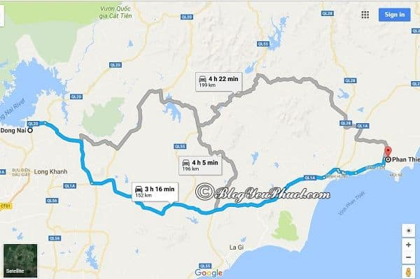 Bản đồ đường đi từ Sài Gòn tới Phú Yên đi qua Đồng Nai và Phan Thiết