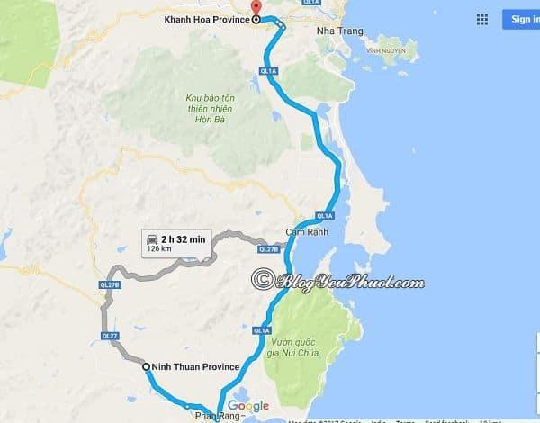 Bản đồ đường đi từ Sài Gòn tới Phú Yên đi qua Ninh Thuận và Khánh Hòa