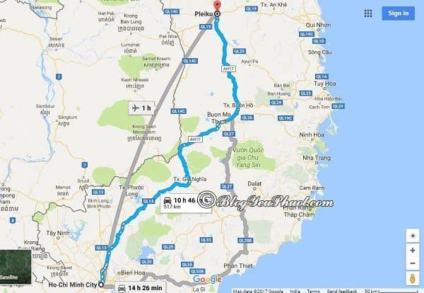 Bản đồ đường đi từ Sài Gòn đến Pleiku: Khoảng cách và đường đi phượt Pleiku từ Sài Gòn