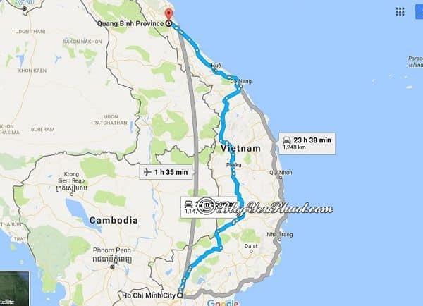 Bản đồ đường đi từ Sài Gòn đến Quảng Bình: Hướng dẫn đường đi và khoảng cách từ Sài Gòn tới Quảng Bình du lịch