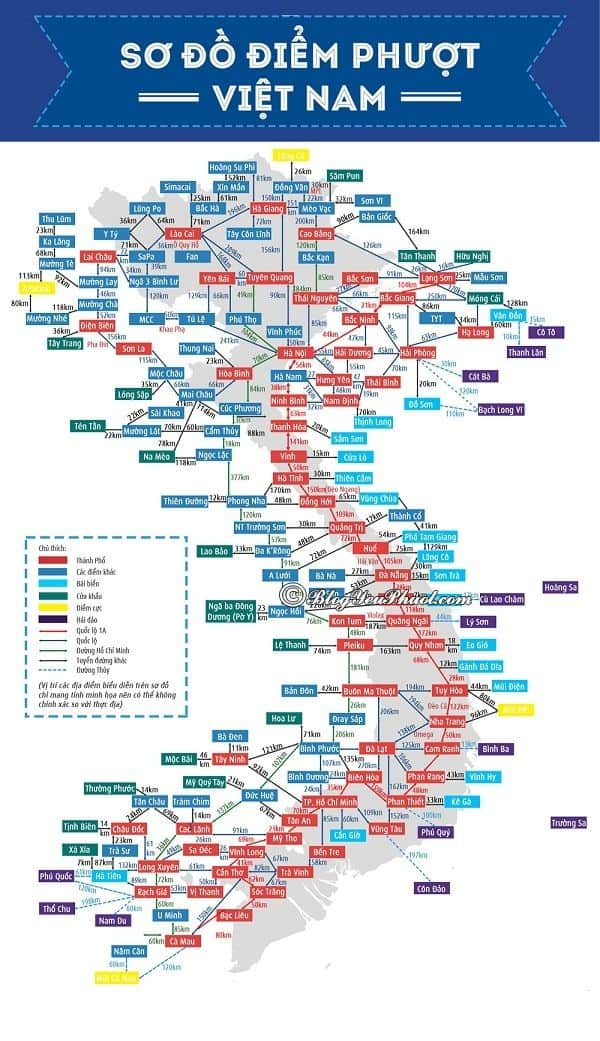 Bản đồ du lịch Việt Nam: Bản đồ những địa điểm du lịch nổi tiếng ở Việt Nam