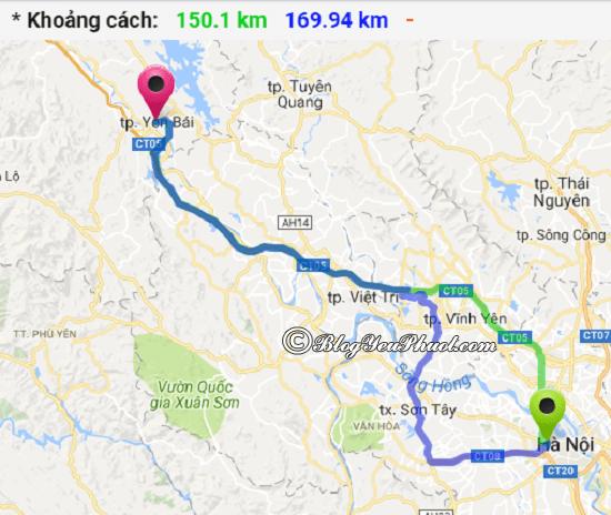 Bản đồ đườngđi từ Hà Nội đến Yên Bái: Yên Bái cách Hà Nội bao nhiêu km, đi đường nào?