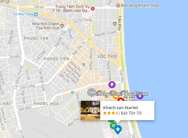 Vị trí của khách sạnStarlet Nha Trang: Khách sạn Starlet Nha Trang ở đâu, có gần biển không?