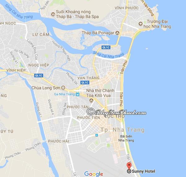 Hình ảnh vị trí của khách sạn 3 sao Sunny Nha Trang: Khách sạn Sunny Nha Trang ở đâu, có gần biển không?