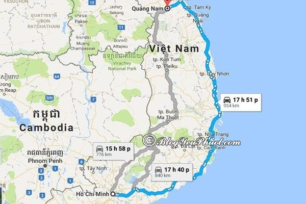 Bản đồ đường đi từSài Gòn đến Quảng Nam: Quảng Nam cách Sài Gòn bao xa, đi như thế nào?