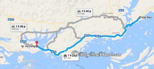 Bản đồ đường đi từ thủ đô Hà Nội đến Vân Đồn: Hướng dẫn cách di chuyển từ Hà Nội đi Vân Đồn, Quảng Ninh du lịch
