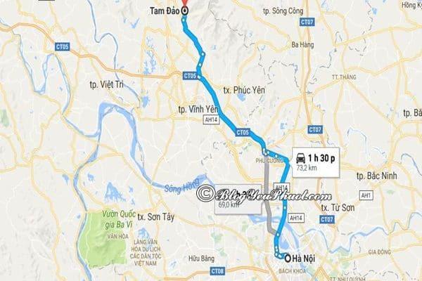 Bản đồ đường đi từ Hà Nội đến Tam Đảo: Tam Đảo cách Hà Nội bao nhiêu km, đi đường nào gần?