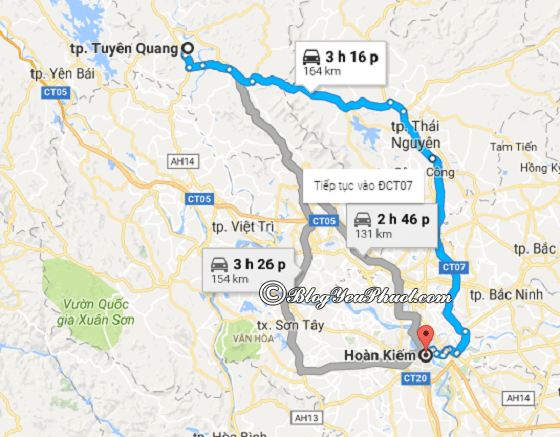 Bản đồ đường đi và khoảng cách từ Hà Nội đến Tuyên Quangdu lịch: Cách di chuyển từ Hà Nội tới Tuyên Quang du lịch gần, nhanh nhất