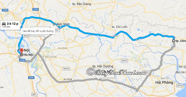 Bản đồ đườngtừ Hà Nội đến Uông Bí –Quảng Ninh: Hướng dẫn đường đi du lịch Uông Bí - Quảng Ninh từ Hà Nội