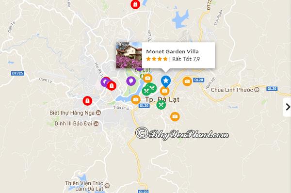 Vị trí của khách sạn Hoàng Anh Đất Xanh Đà Lạt: Khách sạn Monet Garden Villa Đà Lạt ở đâu, vị trí có tốt không?