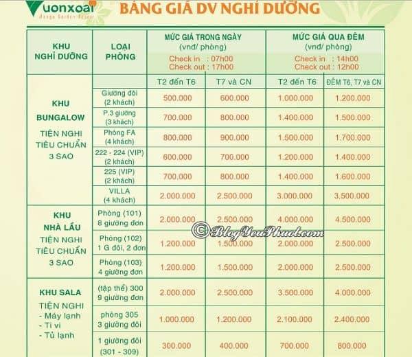 Bảng giá vé dịch vụ phòng nghỉ, khách sạn trong khu du lịch Vườn Xoài