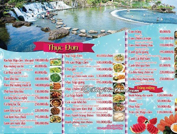 Bảng giá thực đơn nhà hàng trong khu du lịch Suối Mơ, Đồng Nai: Giá thực đơn ăn uống trong khu du lịch Suối Mơ như thế nào?
