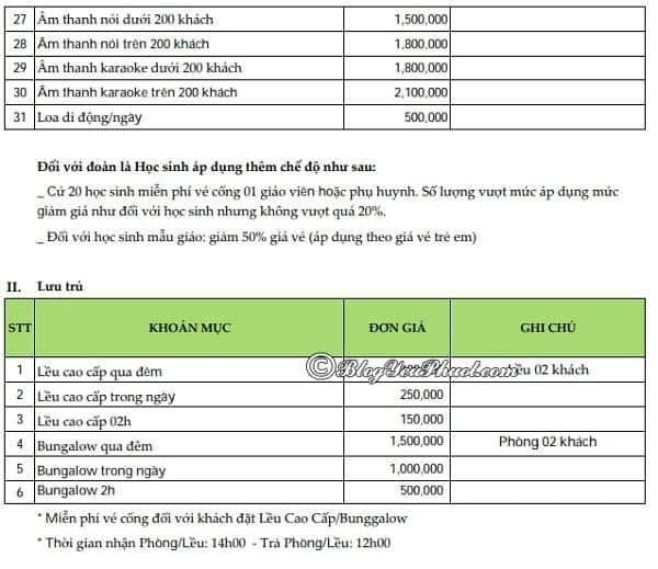 bảng giá vé dịch vụ vui chơi ở khu du lịch Suối Mơ: Giá dịch vụ khu du lịch Suối Mơ như thế nào?