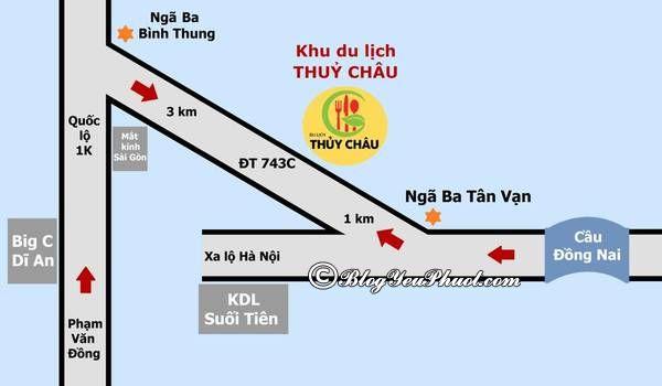 Hướng dẫn đường đi khu du lịch Thủy Châu, Bình Dương: Du lịch Thủy Châu bằng xe máy, xe bus như thế nào?