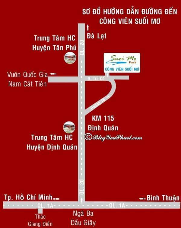 Hướng dẫn đường đi từ Sài Gòn đến khu du lịch Suối Mơ, Đồng Nai: Bản đồ đường đi khu du lịch Suối Mơ