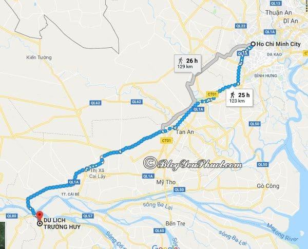 Hướng dẫn đường đi từ Sài Gòn đến khu du lịch Trường Huy, Vĩnh Long: Bản đồ chỉ dẫn đường đi từ TP Hồ Chí Minh tới khu du lịch Trường Huy