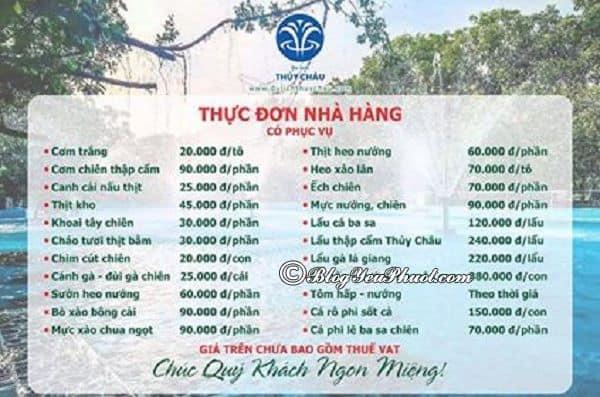 Kinh nghiệm ăn uống khi đi chơi ở khu du lịch Thủy Châu, Bình Dương: Bảng giá thực đơn nhà hàng của khu du lịch Thủy Châu, Bình Dương