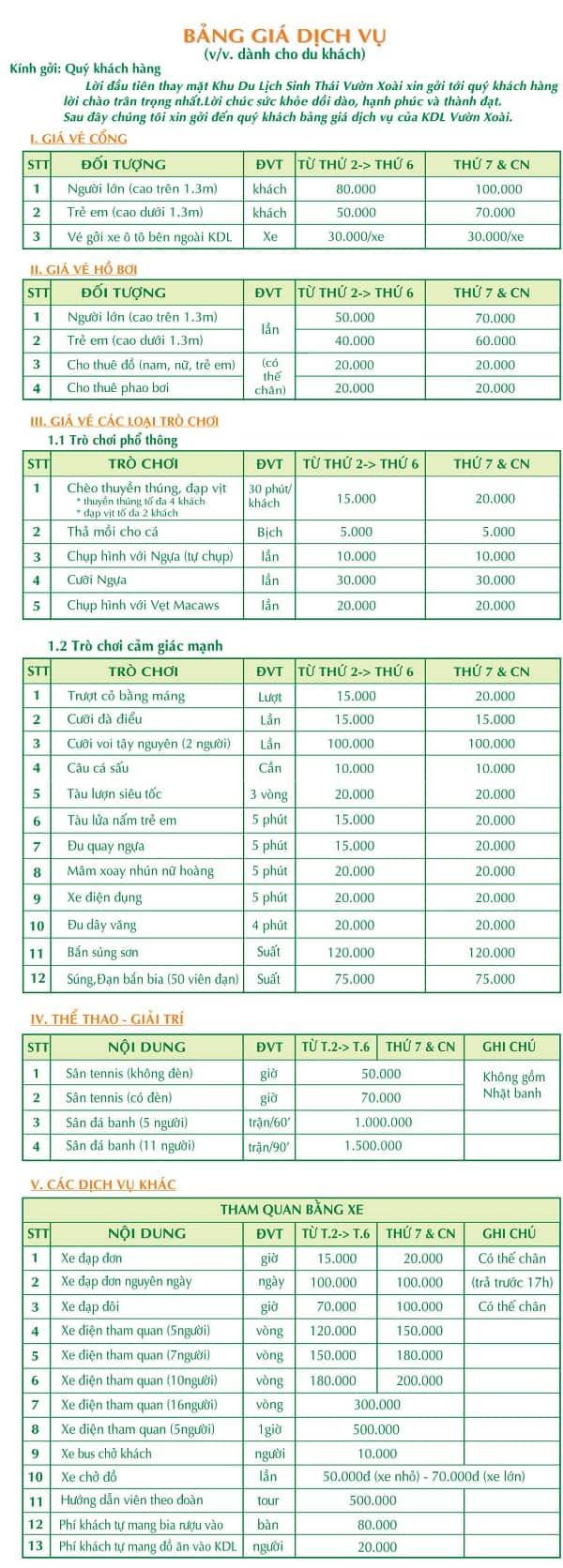 Bảng giá vé tham quan Vườn Xoài, Đồng Nai