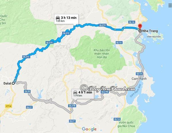 Hướng dẫn đường đi và phương tiện đi Nha Trang từ Đà Lạt: Bản đồ đường đi từ Đà Lạt đến Nha Trang
