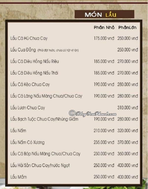 Kinh nghiệm ăn uống ở khu du lịch BCR Sài Gòn: Bảng giá thực đơn ăn uống trong khu du lịch BCR Sài Gòn