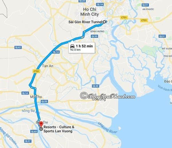 Hướng dẫn đường đi tham quan, vui chơi ở khu du lịch Lan Vương, Bến Tre: Khu du lịch Lan Vương cách Bến Tre bao nhiêu km, đi đường nào gần?