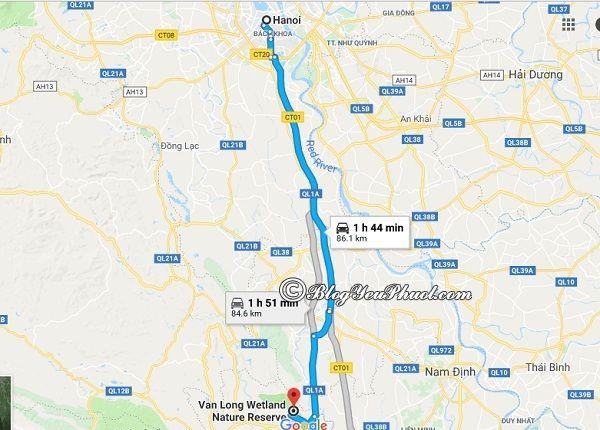 Hướng dẫn đường đi từ Hà Nội đến đầm Vân Long du lịch: Bản đồ chỉ dẫn đường đi tới Đầm Vân Long nhanh, gần nhất