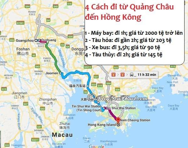 Các cách di chuyển từ Quảng Châu đến Hồng Kông du lịch: Phương tiện đi từ Quảng Châu đến Hong Kong