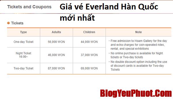 Giá vé vào công viên Everland Hàn Quốc mới nhất