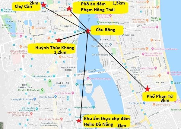 Bản đồ các địa điểm ăn uống ở Đà Nẵng. Bản đồ du lịch Đà Nẵng tổng hợp về điểm ăn uống