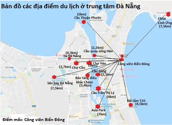 Bản đồ các địa điểm du lịch ở Đà Nẵng