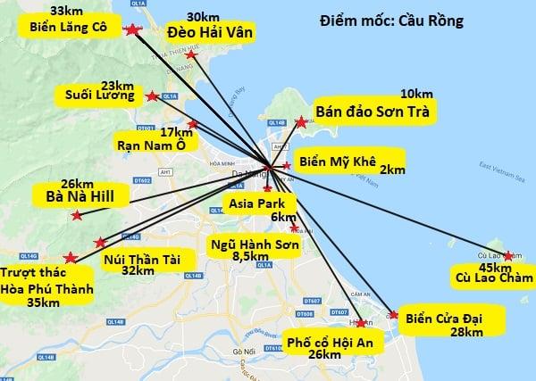 Bản đồ du lịch Đà Nẵng về các địa điểm nổi tiếng nhất. Bản đồ các địa điểm tham quan nổi tiếng ở Đà Nẵng